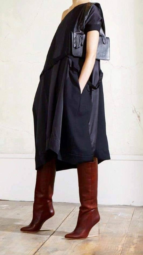 MAISON MARTIN MARGIELA 'oversized day dress' in a match of mat and shiny black, re edited for H&M