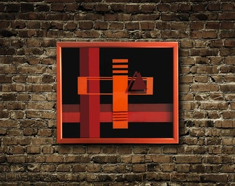 Orange, Maroon And Black Resin Art #4 - Abstract Resin Art - Modern Art - Framed Art - Framed Wall Art