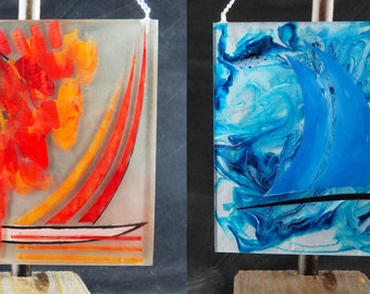 Sailing on Stormy Seas - A two sided abstract wall art