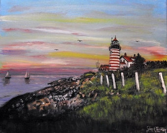 West Quoddy lighthouse Lubec Maine acrylic painting on canvas panel