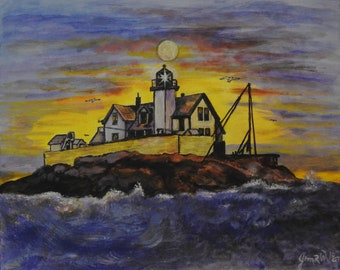 Dumpling Lighthouse  Massachusetts 1800s on 16x20 canvas panel