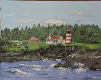 West Quoddy lighthouse, Maine painting on 16x20 stretched  canvas