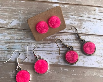 Bright Pink Druzy Earrings 12mm