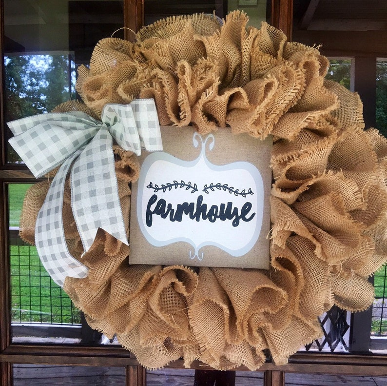 Burlap Wreath Gift for Her Wreaths for Front Door Shabby Chic Wreath Farmhouse Wreath Burlap Wreath for Front Door Mother/'s Day Gifts