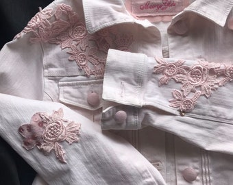 Outerwear, jacket, jeans, pink, flowers, lace, TG s, madeinitaly