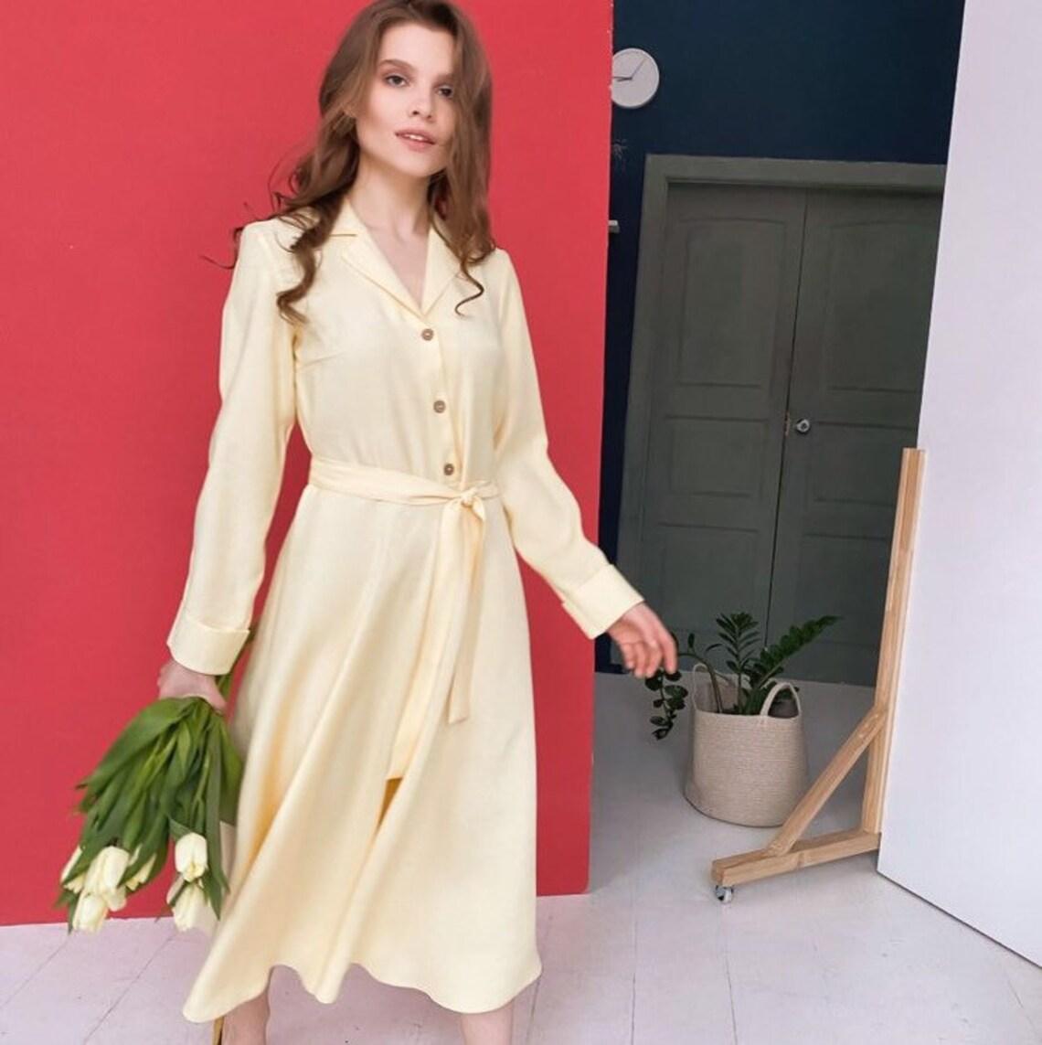 Beautiful Yellow Midi Retro Style Dress/Princess Formal