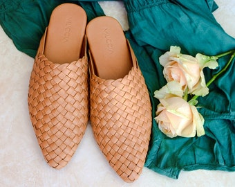 9ae1b26f663d6 Belle Handwoven Leather Mules, Handmade Leather Mules, Hand Woven Mules