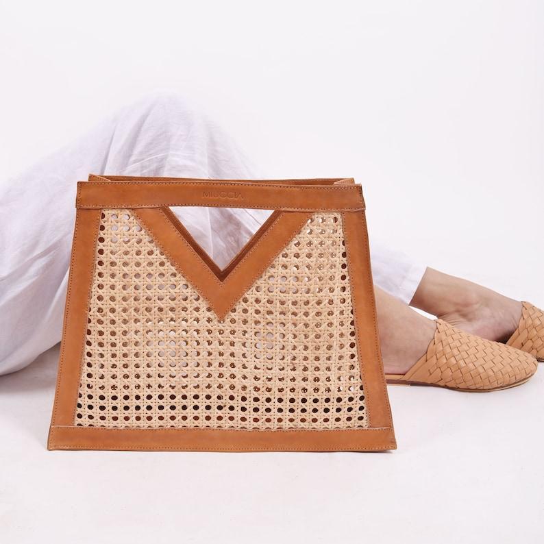 Celeste Hand Bag Rattan Webbing Bag Tote Bag Straw Bag image 0