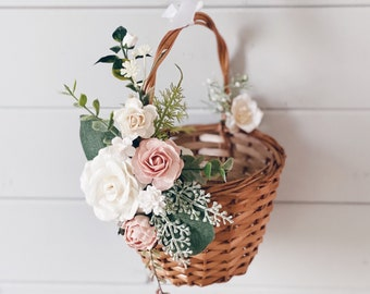 Choose Basket /& Flower Colors and Style Custom Flower Girl Basket Wedding Accessories Flower Girl Basket Wedding Basket