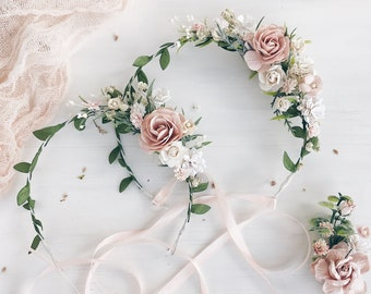0cd278155 Blush flower girl crown, Set of 2 Mommy and me flower crown, Blush flower  crown, Flower crown, Blush child headband, Blush flower headpiece