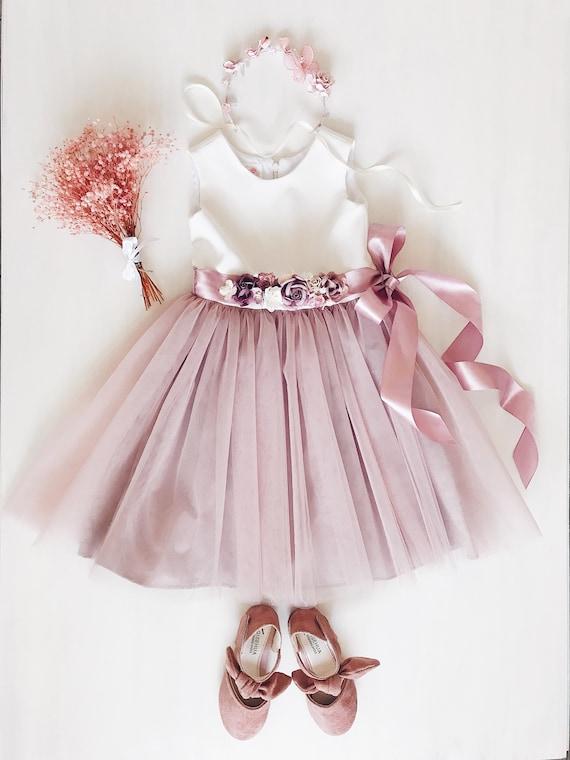 Flower girl dress dusty pink flower girl dress flower sash etsy image 0 mightylinksfo
