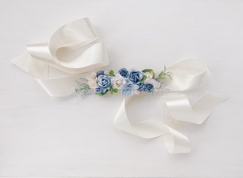 Blue Flower sash belt Flower Sash belt Flower girl dress Wedding sash