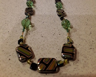 Colorfull Green Enamel Necklace