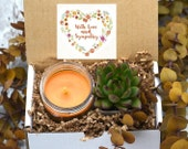 With Love and Sympathy Succulent gift - Sympathy gift box - sorry gift box- cheer up - Succulent and Candle present - live succulent Gift