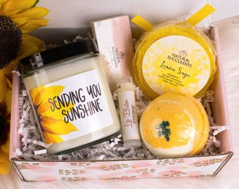 Sending You Sunshine Soy Candle - Care Package - Send A Gift - Thinking Of You - Sunshine Gift Box - Spa Gift Box - Gift For Her - (XPA9)