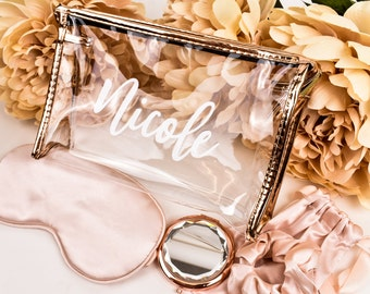Bridesmaid Proposal Gift Personalized Bridesmaid Will You Be My Bridesmaid Bag Bridesmaid Gift Ideas Rose Gold Clear Make Up Bag Monogram