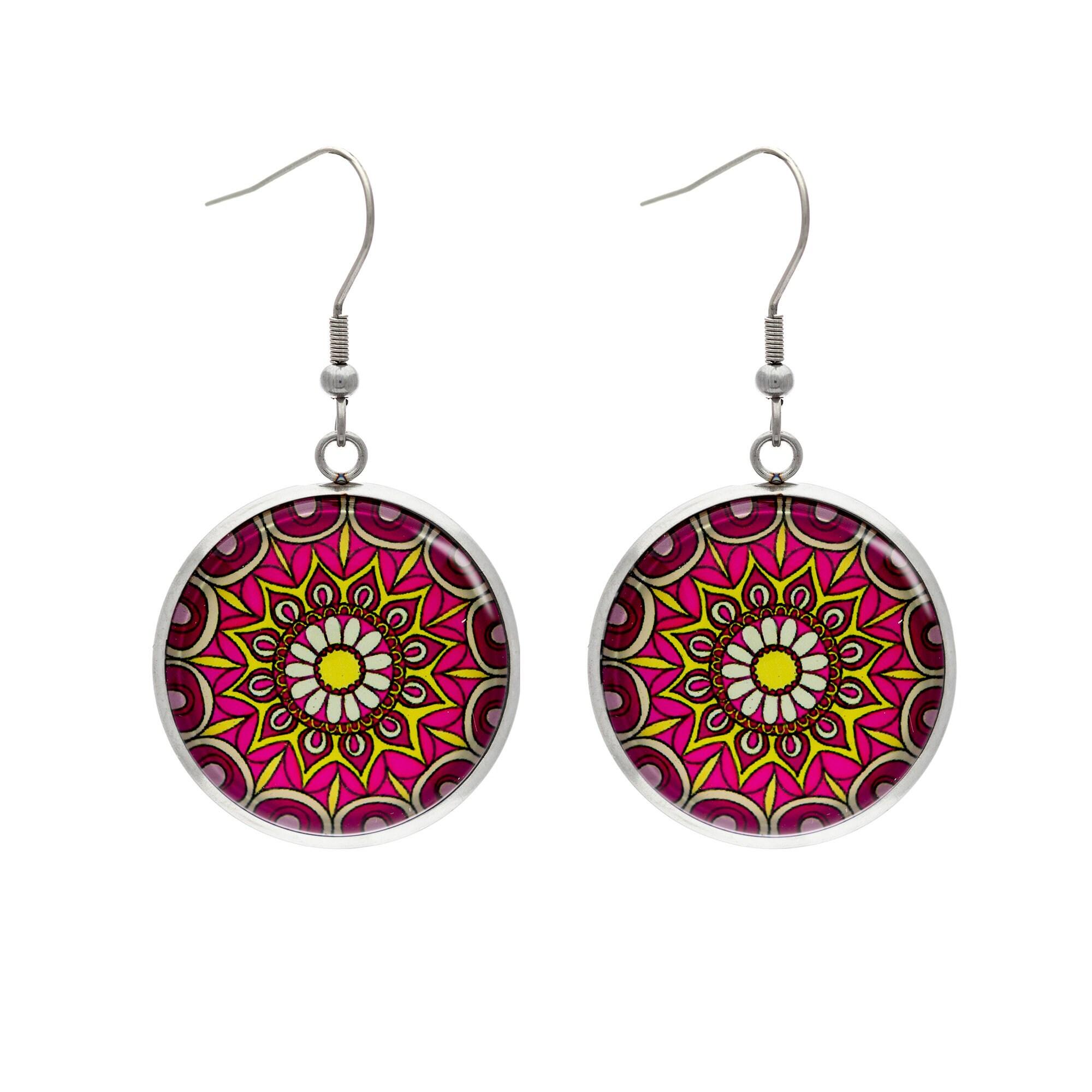 Stainless steel mandala earrings