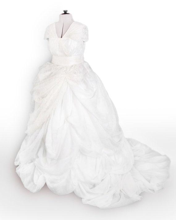 White and Cream Lace Wedding Dress | Etsy