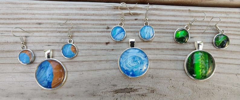 Unique Custom made Free Shipping! one of a kind Earrings and Pendant set