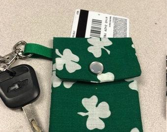 irish four leaf clover wallet card holder key chain
