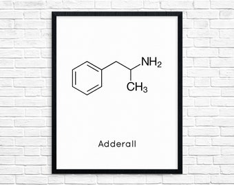 Instant Download Adderall Molecule Ritalin Chemistry Print Science Gift Digital Download Chemistry Art Pharmacy Downloadable Prints 1