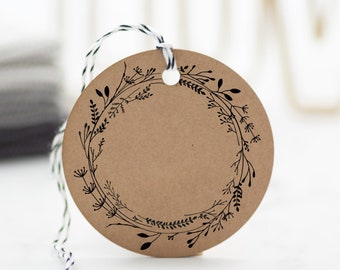 """Motif stamp """"Flower wreath"""" / stamp gift tag / wooden stamp with floral wreath"""