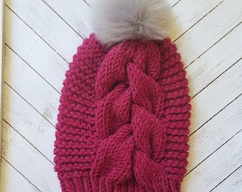 READY TO SHIP Cranberry red knit big braided cable beanie with detachable faux fur pom pom, knit cable beanie, knit cable hat, beanie, hat