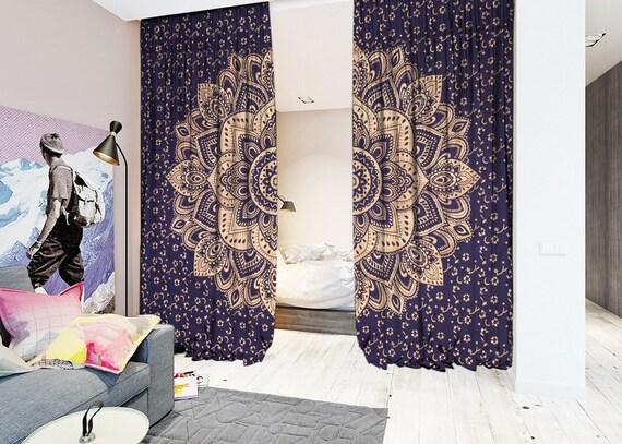 Blau Gold Baumwolle Gedruckt Vorhang Raumteiler Grossen Etsy