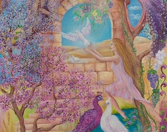 Hope of Light fantasy art 27x39 20x27 13x20 canvas giclee. Print by VardaFreierLevyArt