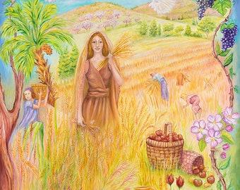 Ruth in the Harvest fantasy art 27x39 20x27 13x20 canvas giclee. Print by VardaFreierLevyArt