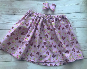 Pink butterfly skirt - flowers - skirt and bow set