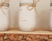 Handpainted Light Grey Mason Ball Jar with rosebuds 490ml