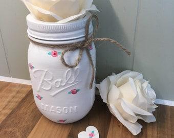 White Rosebud Mason Ball Jar