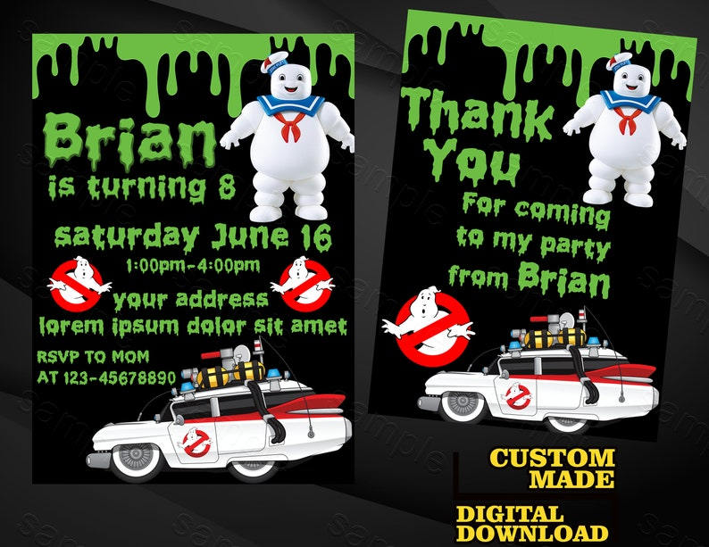 Ghostbusters Invitation Ghostbusters Birthday Invite Etsy