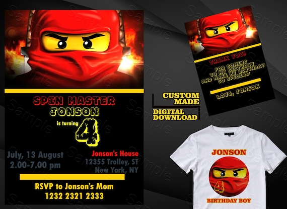 Ninjago Invitation Birthday Iron On Transfer Party Invites Invite Printable