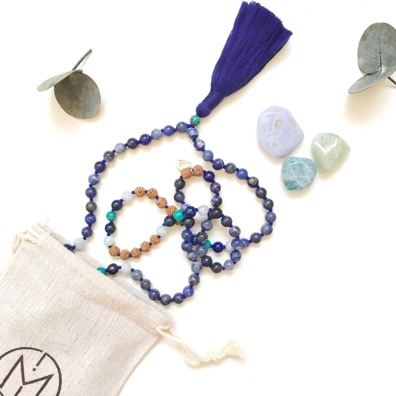 Authentic Mala Beads  Sustainable Prayer Beads  Rudraksha and Sodalite  Necklace  Conscious Gems  Mala Beads for Meditate and Manifest