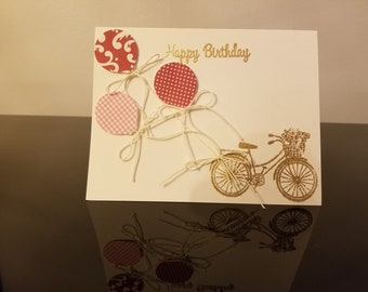 Retro Bicycle Happy Birthday Card Burgandy with Custom Message Inside