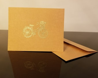Retro Bicycle Greeting Card with Custom Message Inside