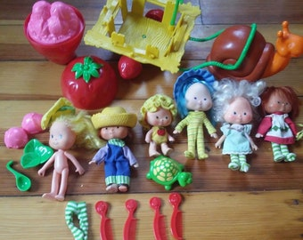 Vintage 1980's Strawberry Shortcake Dolls and Accessories