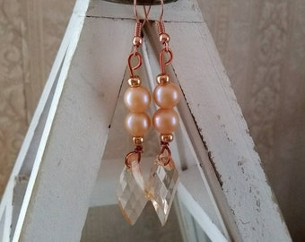Gorgeous Handmade Beige Bead Dangle Earrings
