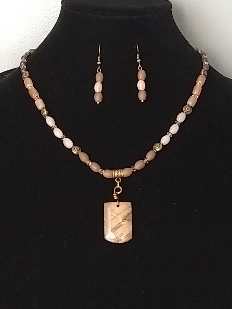 Jasper Pendant Beaded Necklace Set
