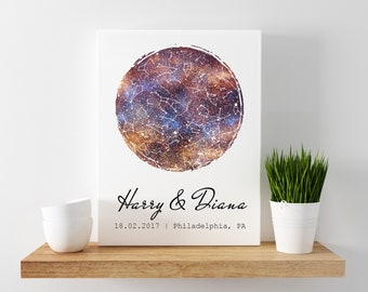 Star Map Print Custom Star Map By Date Of The Night Sky - Personalized Sky Map - Customized Star Map By Date  Night Sky Map Poster Print 09