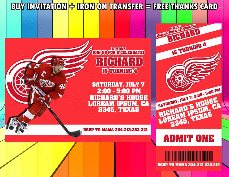 photo about Detroit Red Wings Printable Schedule named Detroit Purple Wings Ticket Invitation, Detroit Purple Wings Iron Upon Shift, Detroit Pink Wings Birthday Invitation, Hockey Invitation, Detroit