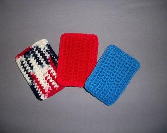 Dishcloth Scrubbies (Set of 3) - Nylon Net Scrubbie, Dish Scrubbie, Scrubby, Pot Scrubber, Red, White and Blue