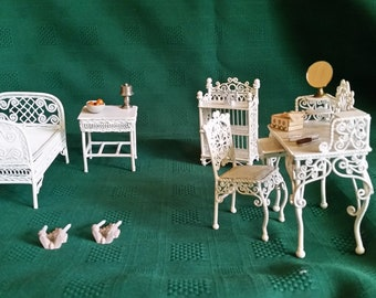 """Dollhouse """"White Wicker"""" Bedroom Set"""