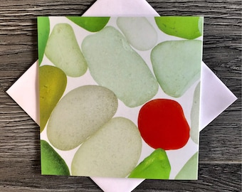Sea Glass Delight greetings card