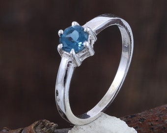 6c9805d0f1 Natural Blue Topaz Ring - 925 Sterling Silver - Size 4 To 11 US All Sizes  Available - December Birthstone Ring - Prong Ring - Promise Ring