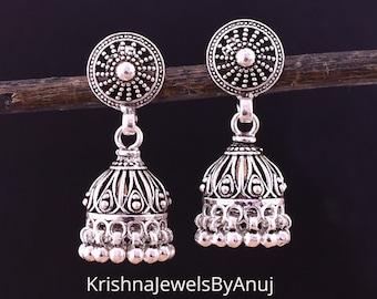 925 Solid Sterling Silver Antique Jhumki Oxidized Jhumka Length 1.4 Inches Vintage Earring KE-97 Bohemian Handmade Jhumki Earring