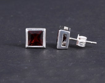 18904b4bf Natural Garnet Earring - 925 Solid Sterling Silver - 6 MM Square Cut Stud  Earring - January Birthstone Stud - Tiny Stud Earring - GSE - 14