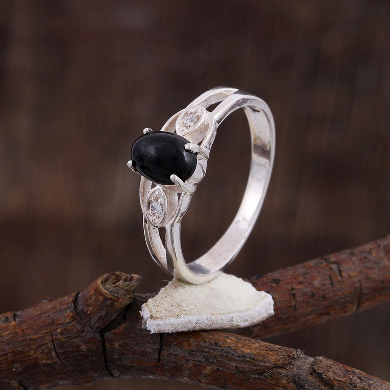 Natural Black Star Ring prong Ring- GR -140 Midi Ring -Promise Ring 925 Sterling Silver -Size 4 To 11 US All Sizes Ava- Statement Ring